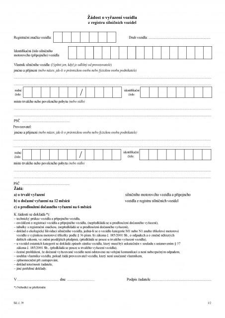 žádost o vyřazení vozidla z registru